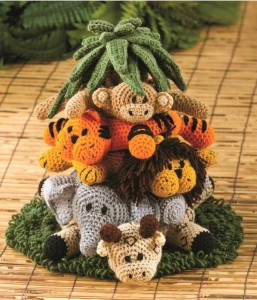 Safari Friends Crochet Stacking Ring Toy with Nois by ... | 300x257