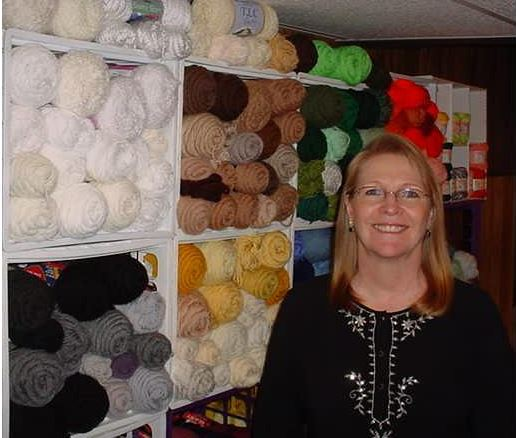 Deb Arch and her yarn stash
